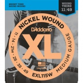 D'Addario EXL115W - струны для  эл .гит., Blues/Jazz Rock, никель, 11-49, 3стр. в оплётке