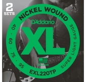D'Addario EXL220TP - 2 комплекта струн БАС -Super Long/Soft Long  40-95