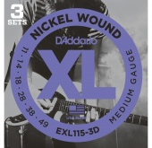 D'Addario EXL115/3D - струны для  электрогитары., Blues/Jazz Rock, никель, 11-49, 3 комплекта