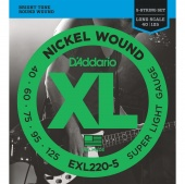 D'Addario EXL220-5 - Струны БАС ,nickel,super soft 40-125